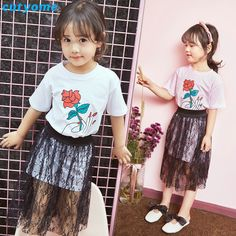 >> Click to Buy << Cutyome Children Girls Summer Clothing 2pcs/sets Rose Short Sleeve T-Shirts+Black Lace Skirt Teens Girl Clothes 3/6/8/10/12/13Y #Affiliate