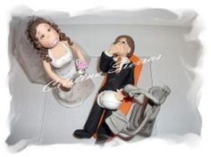 #Wedding Cake topper.  This is an example of a custom made Wedding Cake topper that I created. I can customize the dress and tux just for you!  For a custom order, pleas... #bride #groom #wedding #family