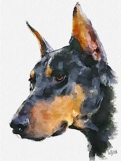 """Doberman Pinscher"" by Vitaly Shchukin: Digital watercolor // Buy prints, posters, canvas and framed wall art directly from thousands of independent working artists at Imagekind.com."