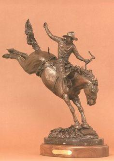 Casey Tibbs | ... of Rodeo - Cap' and Necktie, Casey Tibbs by Edd Hayes Bronze Sculptor