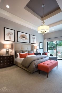Contemporary Master Bedroom with Steven N. Meyers Parrot Tulips I, Wingback upholstered bed, Stacked Squares Table Lamp