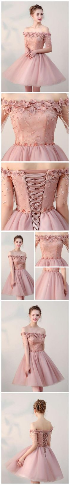 Chic A-Line Off-the-shoulder Sleeveless Short pink Homecoming Dress With Appliques M4780 Blue Homecoming Dresses, Grad Dresses, Cheap Prom Dresses, Evening Dresses, Short Dresses, Quinceanera Dresses, Dresses Dresses, Dresses Online, Dress Outfits
