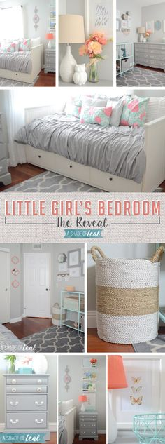 Big Girl Room, The Reveal! Little girls room makeover in grey mint and coral. | A Shade Of Teal