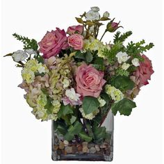 Creative Branch Faux Pink Flowers and Succulents in Glass Vase   Wayfair
