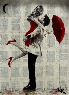 View LOUI JOVER's Artwork on Saatchi Art. Find art for sale at great prices from artists including Paintings, Photography, Sculpture, and Prints by Top Emerging Artists like LOUI JOVER. Couple Painting, Couple Art, Journal D'art, Art Amour, Pop Art, Newspaper Art, Romantic Paintings, Rain Art, Umbrella Art