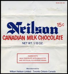 """I love the bouncing letters in """"Canadian Milk Chocolate"""" on this wrapper. I've got one or two other Neilson wrappers in my collection - they must have been a big Canadian candy maker. Canadian Chocolate Bars, Canadian Candy, Chocolate Bar Wrappers, Candy Bar Wrappers, Vintage Candy, Vintage Food, Toronto Ontario Canada, Vintage Lettering, Vintage Recipes"""
