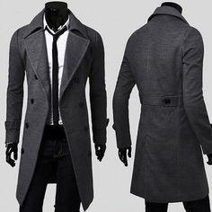 Men's Double Breasted Overcoat Long Trench Coat Winter Slim Warm Jacket Outwear in Clothing, Shoes & Accessories, Men's Clothing, Coats & Jackets Winter Trench Coat, Long Trench Coat, Warm Coat, Cheap Coats, Jackett, Long Jackets, Blazers For Men, Double Breasted, Men Coat