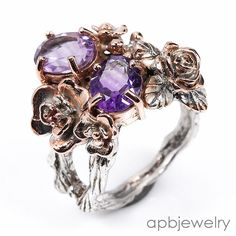 Handmade Fine Art Natural Amethyst 925 Sterling Silver Ring Size 8.5/R36048 #APBJewelry #Ring