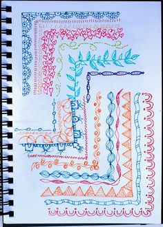 """In my art journal I'm practicing corners and borders doodles, inspired by my recently purchased book:  """"Creative Doodling & Beyond"""" by Stephanie Corfee.   Recollections Signature pens."""