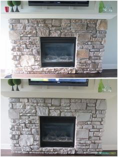 This gray-washed fireplace stone looks so much better now! Great tutorial with helpful tips on gray-washing your own stone or brick fireplace! Such a great before and after!