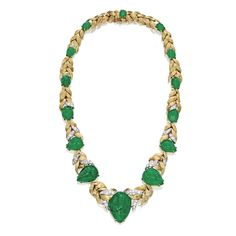 18 Karat Gold, Platinum, Emerald and Diamond Necklace, David Webb Designed as a graduating textured gold vine set with 14 cabochon emerald 'leaves', accented by round and single-cut diamonds weighing 2.00 carats