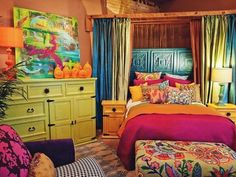bold colors against caramel colored walls (in particular green and turquoise with pops of pink and yellow)
