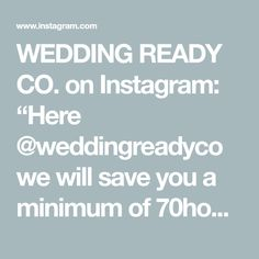 """WEDDING READY CO. on Instagram: """"Here @weddingreadyco we will save you a minimum of 70hours whilst planning your wedding. Yes, 70hours! Start with the online wedding…"""" Plan Your Wedding, Wedding Tips, Yes, Save Yourself, How To Plan, Instagram, Marriage Tips"""