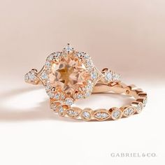 Paired with rose gold, this piece makes a stunning eye catching statement that will never be over looked!  Veronique vintage inspired rose gold morganite engagement ring#rosegoldengagementring #heputaringonit#styled#engagement#engaged #engagementringgoals#engagementringideas #theknotring#dreamring#finejewels#instajewel #romanticstyle#brideinspo#ringsofig #ringbling#finejewels#instajewel#rosegoldring #Rosegoldring#rosegoldjewelry#morganitering #morganite#alternativeengagementring#ringoftheday Alternative Engagement Rings, Perfect Engagement Ring, Morganite Engagement, Stunning Eyes, Bridal Sets, Gabriel, True Love, Vintage Inspired, Gold Rings