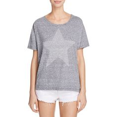 Sundry Star Stud Loose Tee ($83) ❤ liked on Polyvore featuring tops, t-shirts, heather grey, star tee, graphic t shirts, loose fitting tops, loose t shirt and graphic print t shirts
