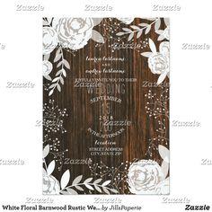White Floral Barnwood Rustic Wedding Card  #rusticwedding  #countrywedding #countryweddinginvitations #weddingideas