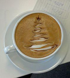 Christmas Tree Coffee, coffee latte, latte art, coffee art