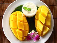Thai mango with vanilla ice  cream