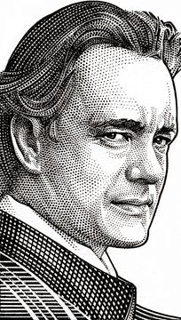 Tom Hanks by Randy Glass, Wall Street Journal Hedcuts Portrait Sketches, Pencil Portrait, Portrait Art, Tom Hanks, Male Face Drawing, Stippling Art, Celebrity Drawings, Cartoon Sketches, Abstract Faces
