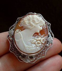 ART DECO Carved CAMEO Brooch Sterling Silver by YearsAfter on Etsy