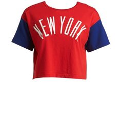 Chocoolate 'NYC' Two-Way Crop Tee (Women) ($15) ❤ liked on Polyvore featuring tops, t-shirts, bright red, chocoolate, crop tee, cotton tee, red t shirt and cotton t shirts