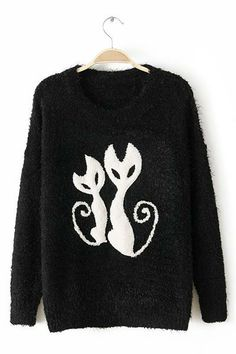 Thickening Cat Pattern Pullover Sweater