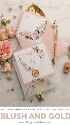 Erröten Hochzeitseinladungen mit Gold #goldwedding #goldweddinginvitations #blushwddingideas #summerweddingidas