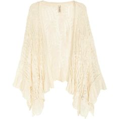 Lace-knit cardigan ($21) ❤ liked on Polyvore featuring tops, cardigans, knit cardigan, kimono cardigan, lace top, ruffle cardigan and kimono top
