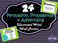 24 Illustrated Word Wall Posters for Persuasion, Propaganda, and Advertising Media Studies, Bible Studies, School Tool, School Stuff, Student Teaching, Teaching Resources, Ad Hominem, Argumentative Writing, Illustrated Words