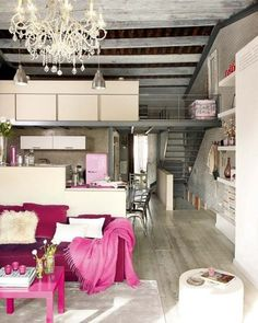 Amazing apartment, not too sold on the pink though...if only it was mint it would be perfect