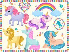 Cute Unicorns clipart by YumPOPclipart on Etsy