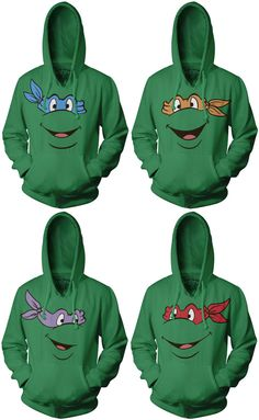 TMNT Teenage Mutant Ninja Turtles Face Green Adult Hoodie Sweatshirt $48.95 - do you think I could talk my boys into wearing matching tmnt hoodies with me? lol, probably not but it would be awesome