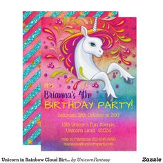 Shop Unicorn in Rainbow Cloud Birthday Invitation created by UnicornFantasy. Unicorn Birthday Invitations, Unicorn Birthday Parties, Girl Birthday, Rainbow Unicorn Party, Rainbow Cloud, Unicorn Crafts, Unicorn Art, Unicorn Foods, Little Unicorn
