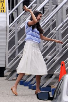 """Nina Dobrev Photos: Kate Walsh is seen walking near her trailer on the Pittsburgh set of """"The Perks of Being a Wallflower"""""""