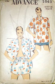 Vintage 1949 Advance pattern, mens swimsuit and cabana set Mens Sewing Patterns, Vintage Patterns, Vintage Outfits, Vintage Fashion, Man Illustration, Surfer Girl Style, Vintage Swimsuits, Beachwear Fashion, Vintage Hawaiian