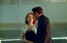 """Tony and Nat. (Tony Stark, Natasha Romanoff, """"Avengers: Age of Ultron"""")"""