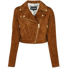 Rock'n Blue Annie Biker Jacket ($195) ❤ liked on Polyvore featuring outerwear, jackets, cropped motorcycle jacket, brown suede jacket, brown biker jacket, suede jacket and zip jacket