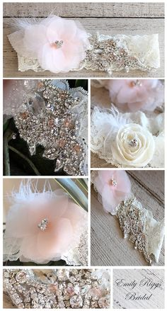 Vintage Oceane  Vintage velvet leaves and vintage Ostrich feathers with hand cut silk chiffon flowers and swarovski crystals. You may customize this garter by choosing any color of silk chiffon flowers and accent swarovski crystals. Picture shown is in blush pink option. Comes with a chiffon flower toss adorned with ostrich feathers.