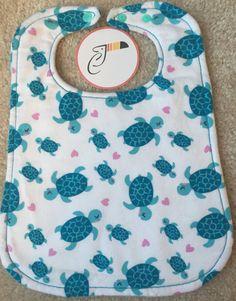 Turquoise Turtles Baby Bib by CraftyToucan