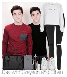 """""""Day with Grayson and Ethan (Dolan Twins)"""" by irish26-1 ❤ liked on Polyvore featuring Topshop, River Island, Prada and Lancôme"""
