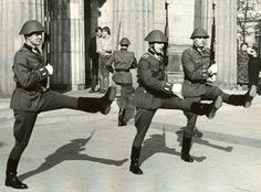10.7.1969 - Berlin, DDR: On the 20th anniversary of the founding of East Germany, a changing-of-the-guard ceremony at the Neue Wache, an old Prussian guardhouse with an eternal flame for the victims of fascism. The soldiers in the picture do a goosestep. Photo by Earl Steinbicker.
