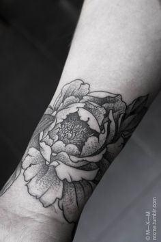"""I want a Peony tattoo with a banner saying """"Mom"""" I always remember her taking care of the peonies in her garden, growing up."""