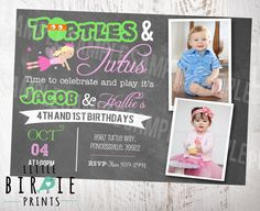 Hey, I found this really awesome Etsy listing at https://www.etsy.com/listing/227310038/turtles-and-tutus-invitation-join-twin