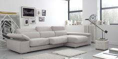 Sofá con chaise-longue modelo Adagio de Gamamobel. Más info en http://sofassinfin.es/chaise-longue-y-rinconeras.html