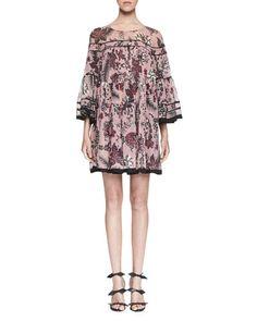 W0FDL Chloe Cactus-Print Silk Babydoll Dress, Pink/Burgundy
