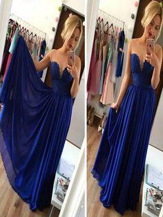 Long Custom Prom Dress, Blue prom dress, Strapless prom dress, Prom dress with lace, Elegant prom dress, Prom dress for teens, Evening party dress. PD01114
