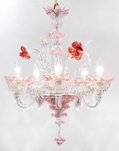 Murano Pink Rose and Crystal Glass Chandelier - Jean Marc Fray