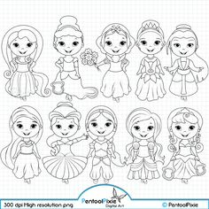 Little Princesses Digital Stamps, Princess stamps, Fairytale Princess, Princess Digi stamps, Line ar Disney Princess Coloring Pages, Disney Princess Colors, Little Princess, Cartoon Coloring Pages, Coloring Book Pages, Disney Doodles, Shrink Art, Black And White Drawing, Digi Stamps