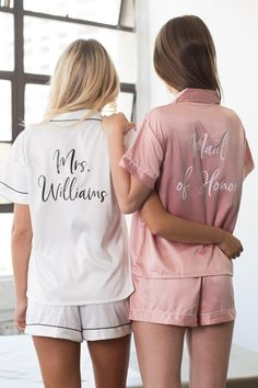Bridesmaid Pyjamas, Bridesmaid Robes, Be My Bridesmaid, Brides And Bridesmaids, Bridesmaid Gifts From Bride, Personalized Bridesmaid Gifts, Monogrammed Pajamas, Personalized Pajamas, Pajama Party