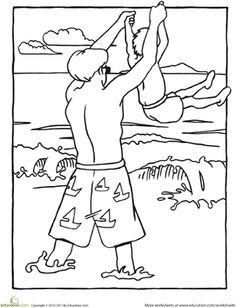 Boy On Beach Coloring Pages